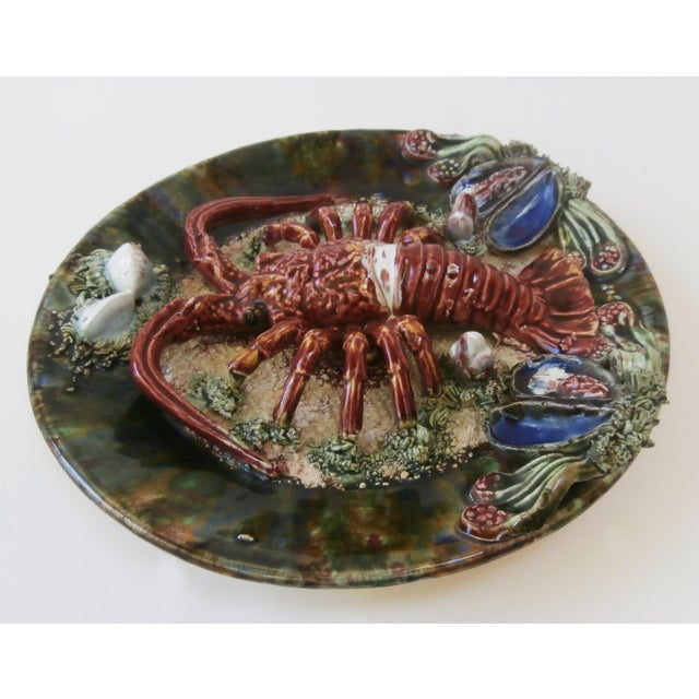 Cottage Majolica Palissy Portuguese Lobster Wall Plate For Sale - Image 3 of 4