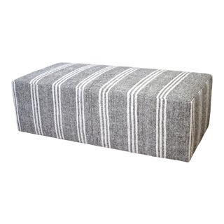Custom Made Vintage Turkish Rug Rectangle Cocktail Ottoman Coffee Table For Sale
