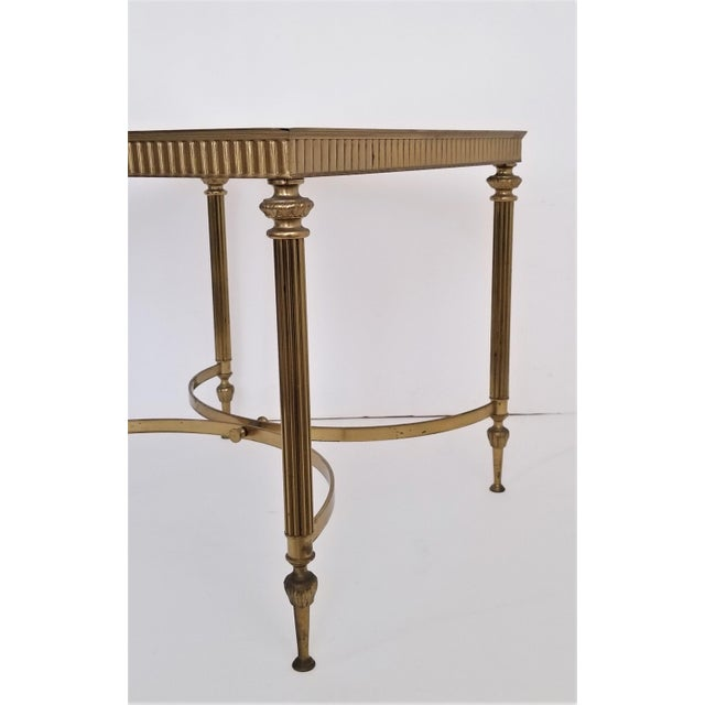 Vintage Italian Mid Century Modern Brass Mirror Glass End Side Table For Sale - Image 9 of 12