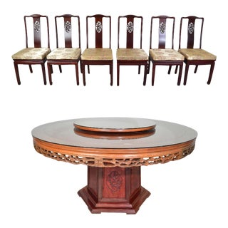 Ming Style Traditional Chinese 8 Piece Honey Rosewood Dining Set-Hand Carved For Sale