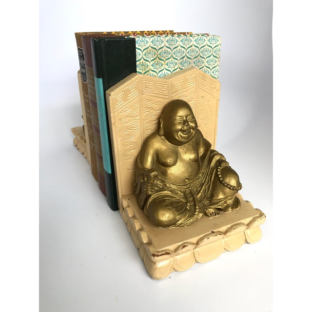 Vintage Chinese Smiling Buddha bookends - A Pair For Sale - Image 9 of 11