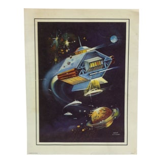 """Original Color Outer Space Print """"Flying Home & Saucers"""" by West Conway For Sale"""