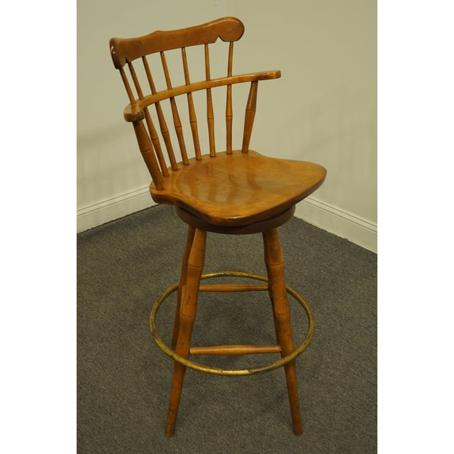 Late 20th Century S Bent Bros. Gardener Solid Maple Swivel Bar Stool For Sale - Image 10 of 13