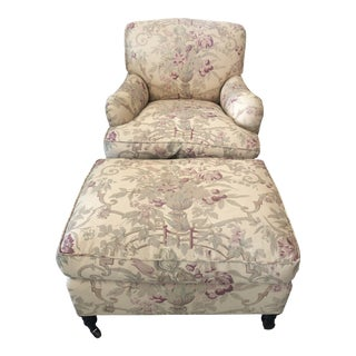 Classic George Smith Large Club Chair & Ottoman in Gollut Pattern Upholstery -Set of 2 For Sale