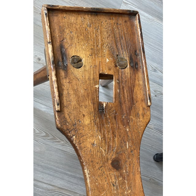 Early 20th Century Antique Primitive Rustic Handmade Wooden Farm Milking Stool Bench For Sale - Image 5 of 9