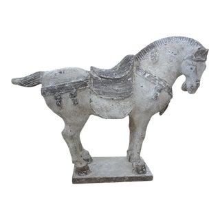 Large Vintage Polychrome Plaster Tang Horse For Sale