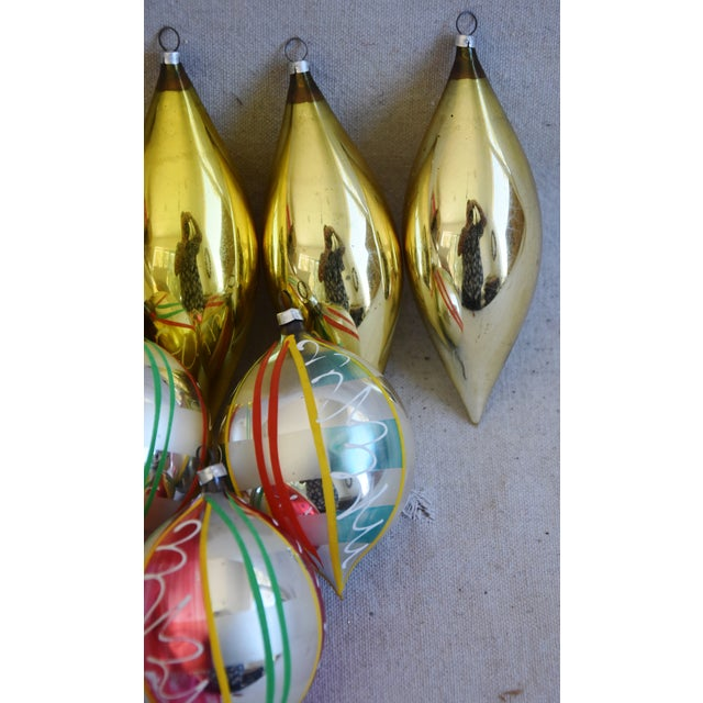 Mid 20th Century Large Vintage Colorful Christmas Tree Ornaments - Set of 8 For Sale - Image 5 of 7