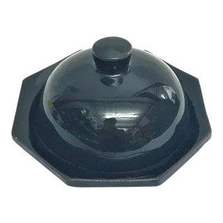 Hand Painted Black Small Moroccan Ceramic Serving Dish For Sale