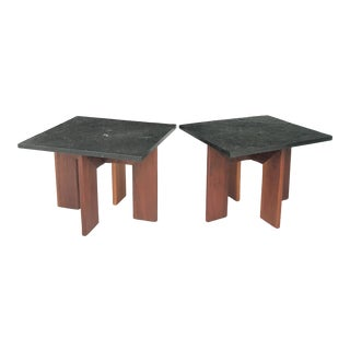 Adrian Pearsall Walnut Slate SideTables Craft Associates For Sale
