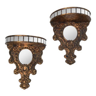 Antique Baroque Style Gilded & Mirrored Wall Brackets - a Pair For Sale