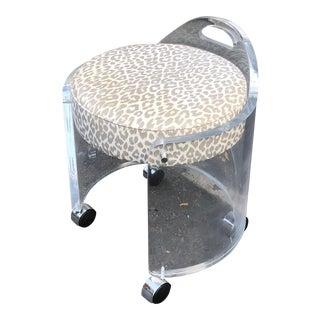 Karl Springer Mid-Century Modern Lucite Vanity Bench Stool For Sale
