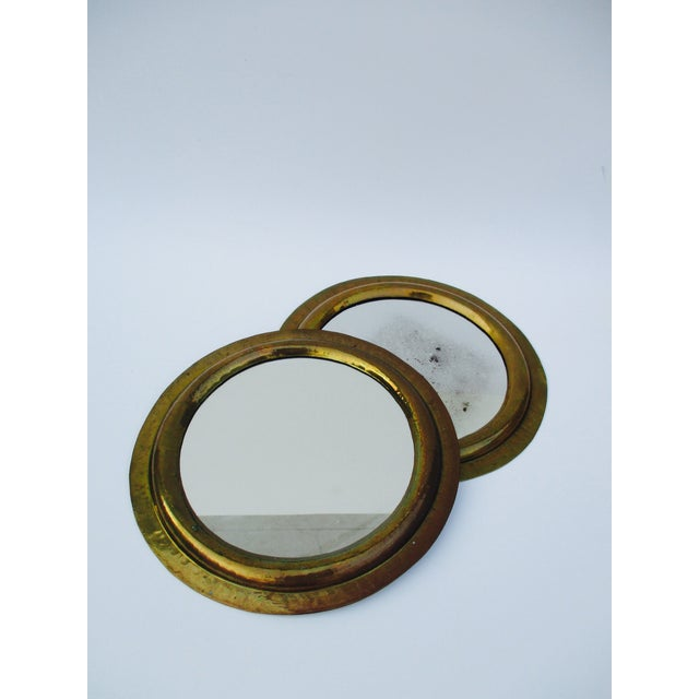 Round Brass Boho Mirrors - A Pair - Image 4 of 7