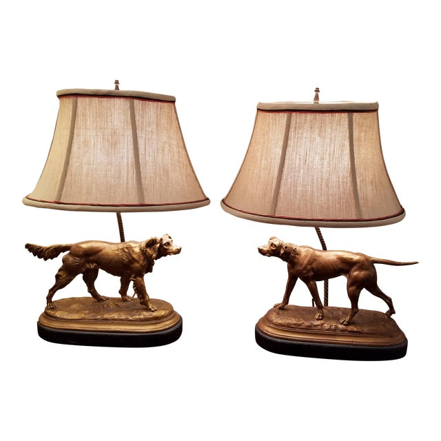 Bronze Finished Sporting Dogs Mounted Lamps With Custom Shades - a Pair For Sale