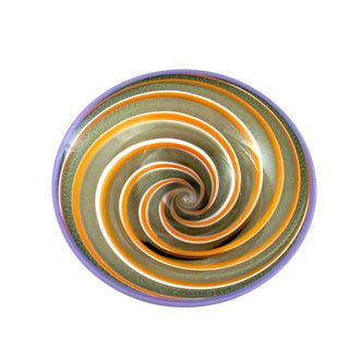 Modern Handblown Art Glass Galaxy Spiral Bowl For Sale