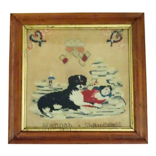 Victorian Dog and His Little Girl Charge Needlepoint For Sale