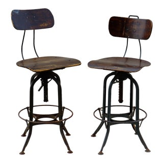 Vintage Toledo Architectural Stools - A Pair