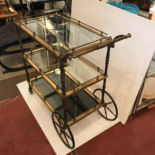 Tea or Bar Cart with cut glass starburst top that reflects on to the bottom shelf in the right light and middle shelf, two...