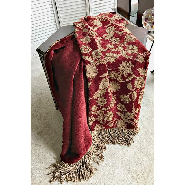 Velvet Floral Red and Gold Throw - Image 7 of 8