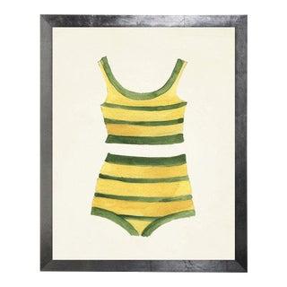 Yellow & Green Striped Bikini Watercolor Print, 25 x 31 For Sale
