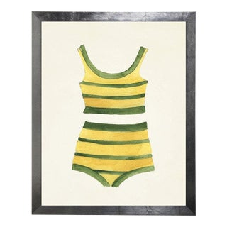 Yellow & Green Striped Bikini Watercolor Print For Sale