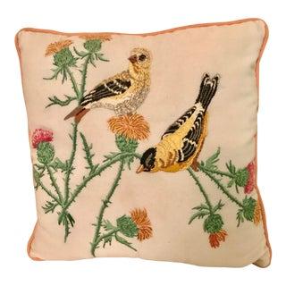 Handmade Embroidered Bird Motif Pillow For Sale