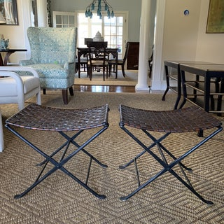 Alpine Chic Iron and Leather Benches- a Pair Preview