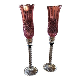 19th Century Baccarat Candlesticks - A Pair For Sale