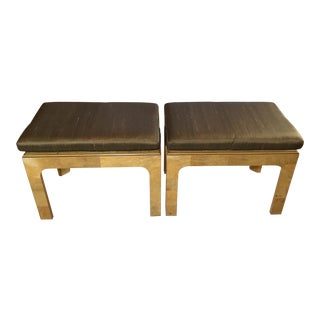 20th Century Vintage Henredon Burl Wood Stools - A Pair For Sale
