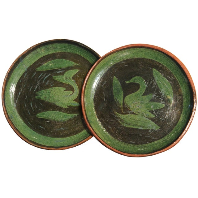 Patamban Pottery Mexican Plates - A Pair - Image 1 of 10