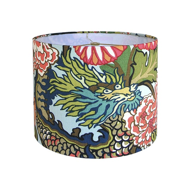 Custom Aqua Floral Dragon Drum Lamp Shade For Sale - Image 4 of 5