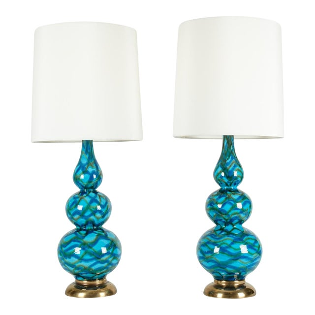 Vintage Porcelain Table Lamps With Brass Bases - a Pair For Sale