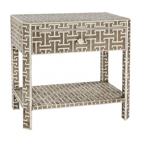 Handcrafted in chic grey with inlaid bone detail, this Hermes side table is an uber stylish addition to your living or...