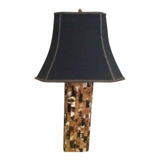 Karl Springer Patchwork Horn Table Lamp, 1970's For Sale