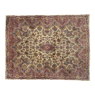 Antique Persian Kerman Rug - 12'01 X 15'11 For Sale