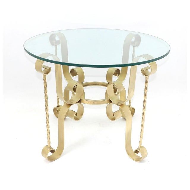 1960's Mid Century Modern Wrought Iron Round Glass Side Table For Sale - Image 10 of 10