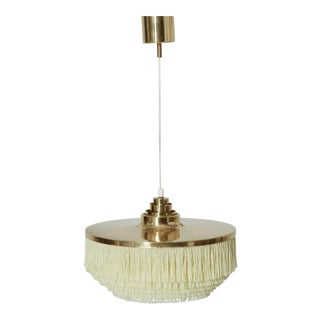 Hans Agne Jakobsson T-603 White Fringe Ceiling / Pendant Lamp, Sweden, 1960s For Sale
