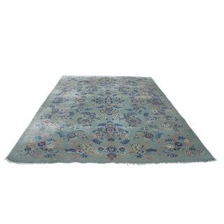 1980s Vintage Kashan Iranian Floral Blue & Gold Wool Area Rug - 9' X 13' For Sale