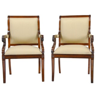 Regency Upholstered Arm Chair - Pair For Sale