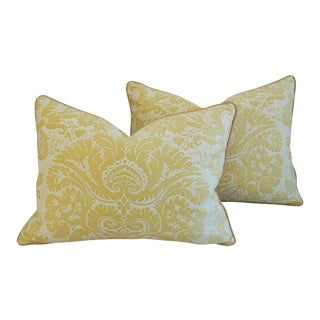 Custom Tailored Mariano Fortuny Italian Demedici Pillows - A Pair For Sale