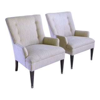 1960s French High Back Fireside Arm Club Chairs - a Pair