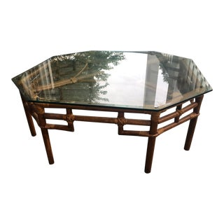 Vintage Beveled Glass Top Octogonal Rattan Table
