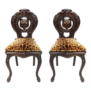 Victorian Shield Back Boudoir Chairs W/ Loose Velvet Animal Print Cushions-A Pair For Sale