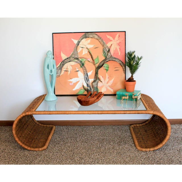 Scroll Wicker Coffee Table For Sale - Image 10 of 11