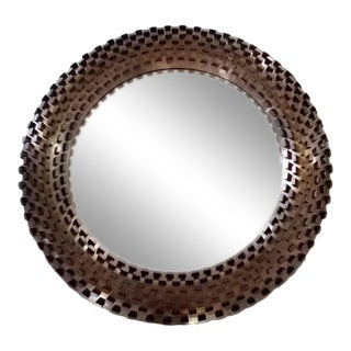 Contemporary Round Brass Tab Mirror For Sale