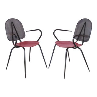 Mathieu Mategot Style Black and Red Perforated Metal Armchairs For Sale