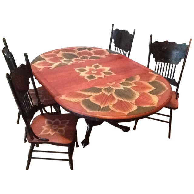 Wood Stain Art Dining Table Set - Image 1 of 7