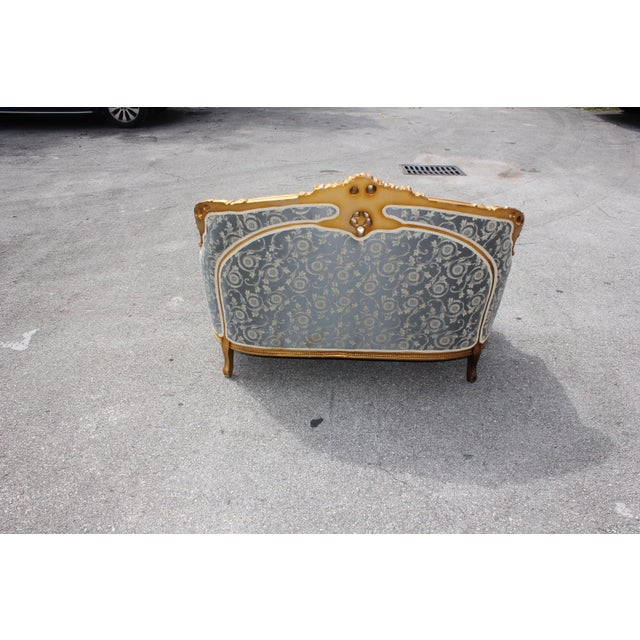Blue 1940s Vintage French Louis XVI Style Giltwood Loveseat For Sale - Image 8 of 13