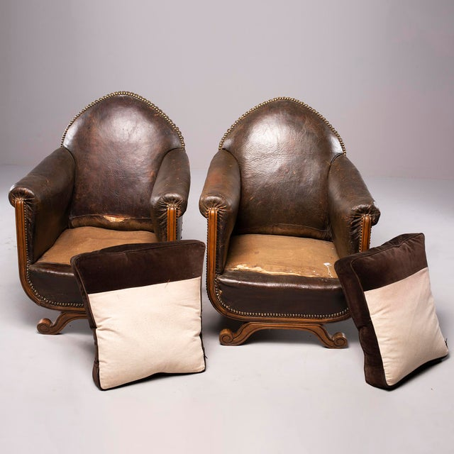 All Original French Art Deco Leather Club Chairs With Velvet Cushions-A Pair For Sale - Image 4 of 13