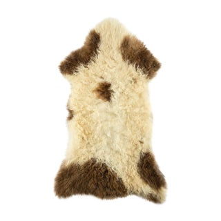 "Contemporary Long Wool Sheepskin Pelt, Handmade Rug - 1'10""x3'2"" For Sale"
