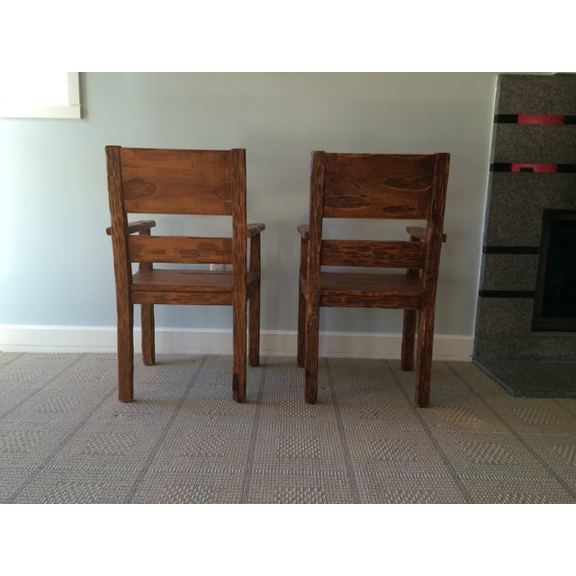 African Style Carved Wooden Chairs - A Pair - Image 9 of 11